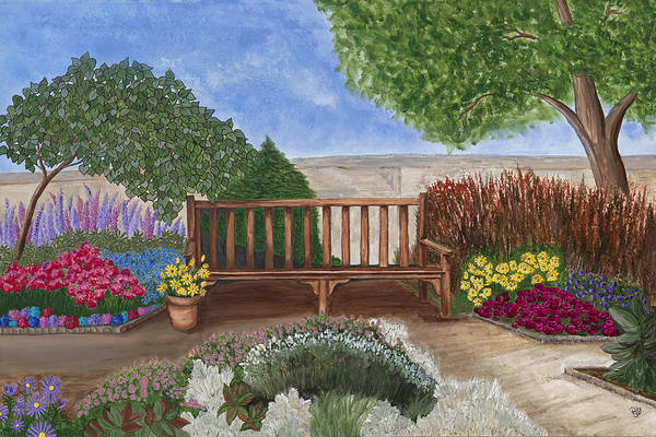 Garden Canvas Prints Art Print featuring the painting Park Bench In A Garden by Patty Vicknair