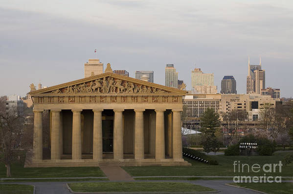 Parthenon Art Print featuring the photograph Parthenon With Nashville Skyline by Jeremy Holmes