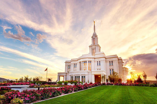 Payson Utah Temple Art Print featuring the photograph Payson Utah Temple Dramatic View by Tausha Coates