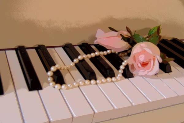 Still Life Art Print featuring the photograph Pearly Pink Keys by Florene Welebny