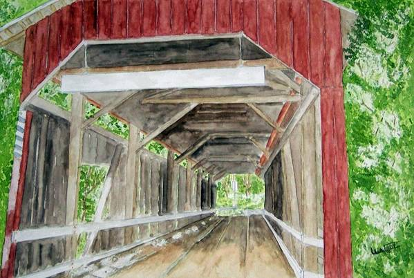Covered Bridge Art Art Print featuring the painting Pennsylvania Inside And Out by Larry Wright