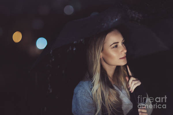 Adult Art Print featuring the photograph Pensive Woman Outdoors In Rainy Night by Anna Om
