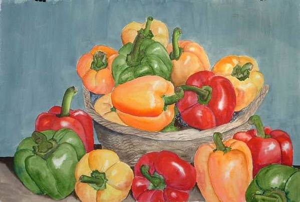 Art Print featuring the painting Peppers by Diane Ziemski