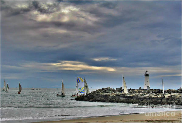 Sail Boats Art Print featuring the photograph Perfect Beach And Smooth Sailing by Amy Delaine