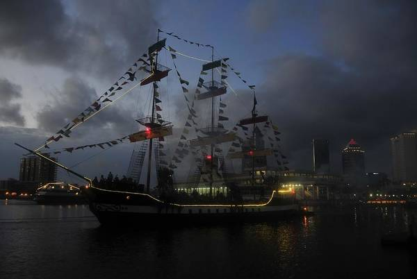 Pirate Festival Print featuring the photograph Phantom Ship by David Lee Thompson