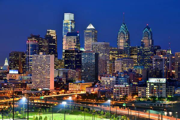 Philadelphia Skyline At Dusk Art Print featuring the photograph Philadelphia Skyline At Night by Jon Holiday