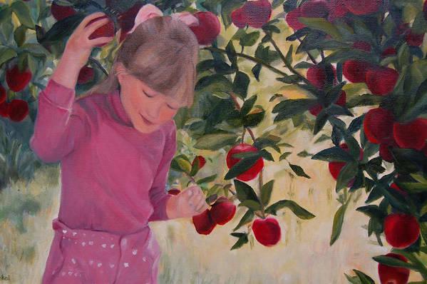 Konkol Art Print featuring the painting Picking Apples by Lisa Konkol