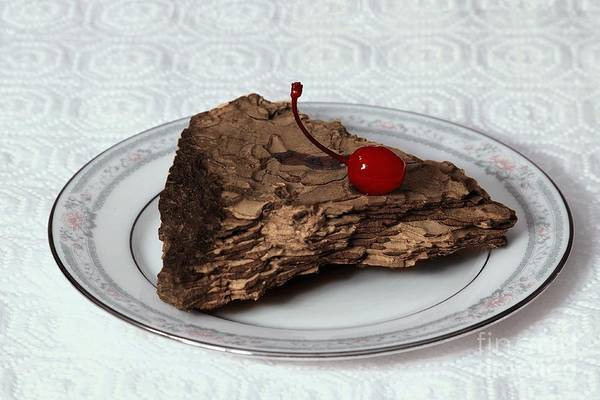 Imitation Art Print featuring the photograph Piece Of Pine Cake With Cherry. by Viktor Savchenko