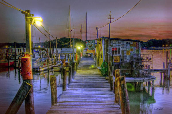 Colonial Beach Art Print featuring the photograph Pier At Dusk by E R Smith