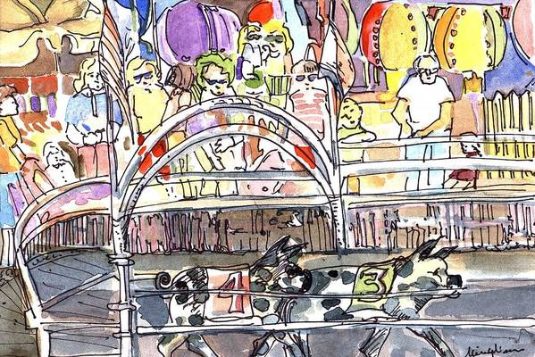 Pig Art Print featuring the painting Pig Races by Mindy Newman