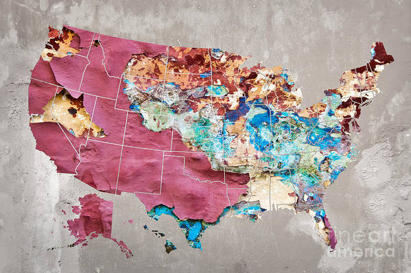 Us Art Print featuring the photograph Pink Street Art Us Map by Delphimages Photo Creations