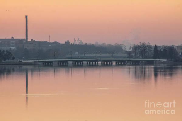 Beloit Art Print featuring the photograph Pink Sunrise Over The Rock River by Viviana Nadowski