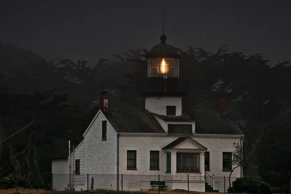 Point Pinos Lighthouse Art Print featuring the photograph Point Pinos Lighthouse Ca by Christine Till