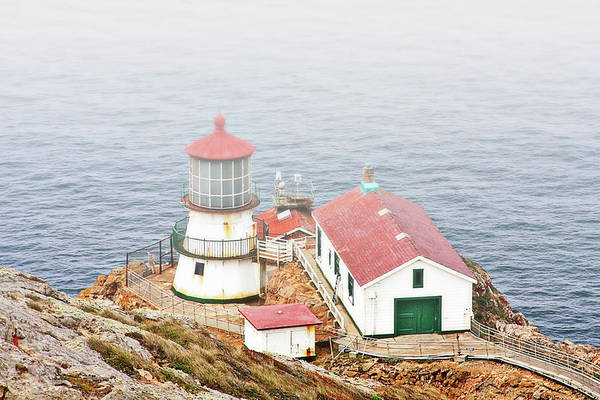 Point Reyes Lighthouse Print featuring the photograph Point Reyes Lighthouse At Point Reyes National Seashore Ca by Christine Till