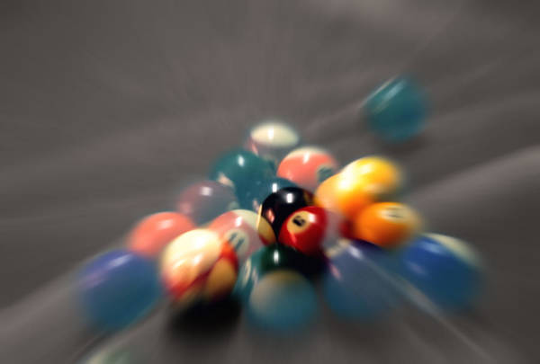 Pool Balls Art Print featuring the photograph Pool Ball Break 2 by Steve Ohlsen