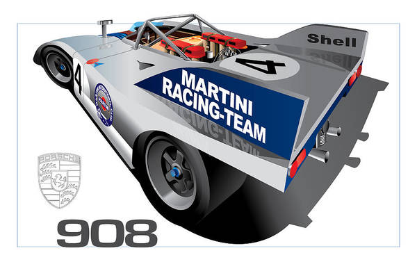 Martini And Rossi Art Print featuring the digital art Porsche 908 by Ron Riffle