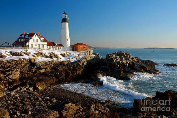 Coastline Art Print featuring the photograph Portland Head Light - Lighthouse Seascape Landscape Rocky Coast Maine by Jon Holiday