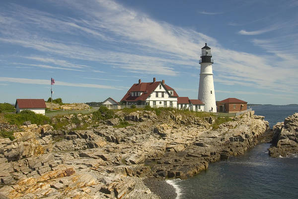 Lighthouse Print featuring the photograph Portland Head Lighthouse by Mike McGlothlen
