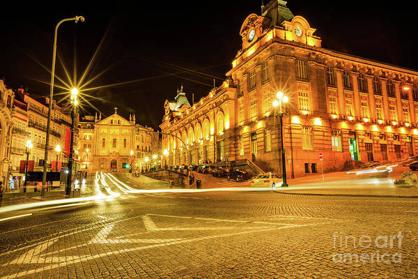 Porto Art Print featuring the photograph Porto City By Night by Benny Marty