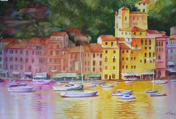 Italy Art Print featuring the painting Portofino Afternoon by Karen Stark
