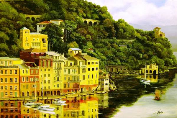 Mountain Art Print featuring the painting Portofino by Jim Horton