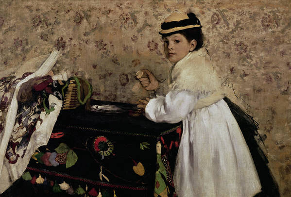Portrait Of Hortense Valpincon As A Child Art Print featuring the painting Portrait Of Hortense Valpincon As A Child by Edgar Degas