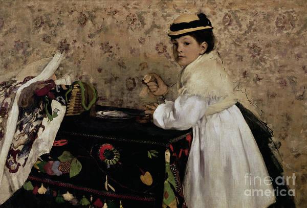 Portrait Of Hortense Valpincon As A Child Print featuring the painting Portrait Of Hortense Valpincon As A Child by Edgar Degas