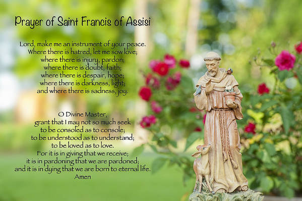 Prayer Of St. Francis Of Assisi Print featuring the photograph Prayer Of St. Francis Of Assisi by Bonnie Barry