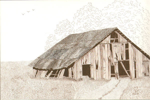 Pen And Ink Art Print featuring the drawing Pre-collapse by Pat Price
