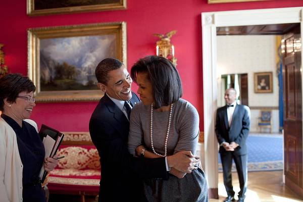 History Art Print featuring the photograph President Obama Hugs First Lady by Everett