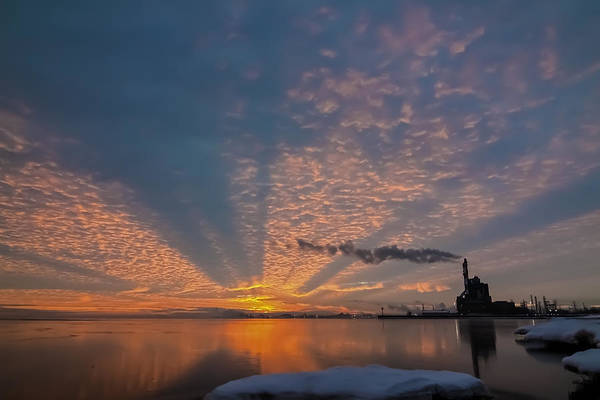 Lake Michgan Art Print featuring the photograph Pretty Industrial Sunrise by Sven Brogren