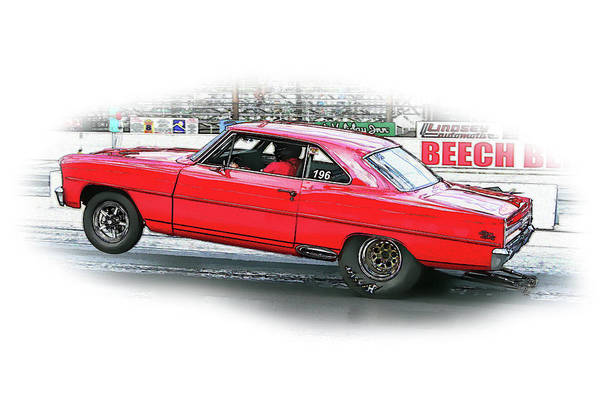 Drag Racing Art Print featuring the digital art Ps Color 126 by Shellie Midgette