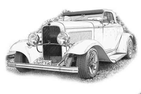 Cars Art Print featuring the digital art Ps Pencil 007 by Shellie Midgette