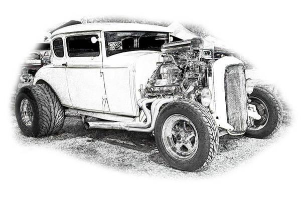 Cars Art Print featuring the digital art Ps Pencil 134 by Shellie Midgette