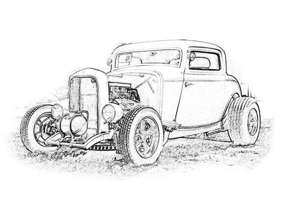 Cars Art Print featuring the digital art Ps Pencil 184 by Shellie Midgette