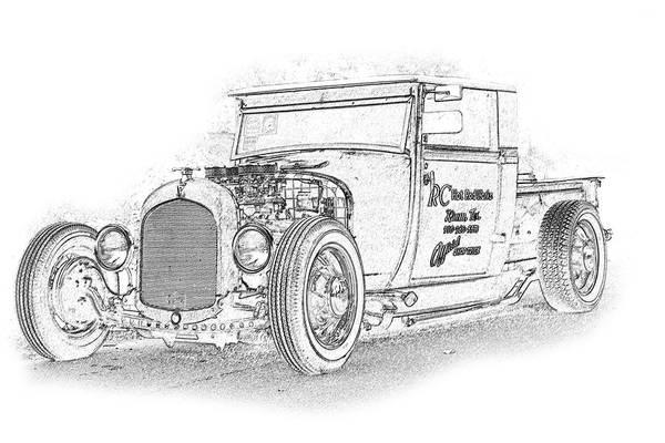 Cars Art Print featuring the digital art Ps Pencil 222 by Shellie Midgette