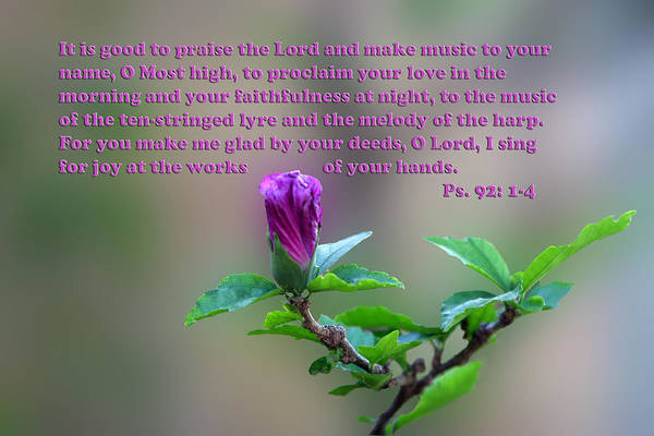 Scripture Art Print featuring the photograph Psalms Scripture With Floral Bud by Linda Phelps