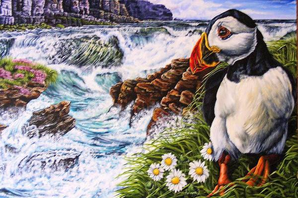 Puffin Art Print featuring the painting Puffin Peace by Donald Dean