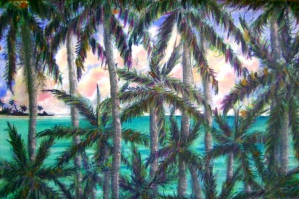 Queen Palm View Art Print featuring the painting Queen Palm Bay View by Ana Bikic