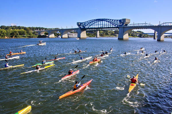 Market Street Bridge Art Print featuring the photograph Race On The River by Tom and Pat Cory
