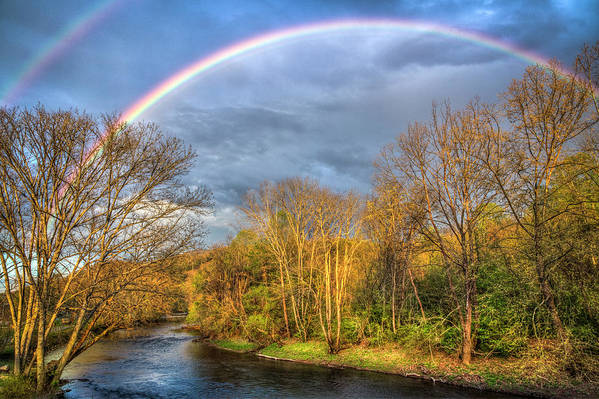 Appalachia Art Print featuring the photograph Rainbow Over The River by Debra and Dave Vanderlaan