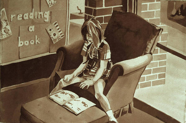 Girl Reading Book Art Print featuring the painting Reading Corner by Judy Swerlick