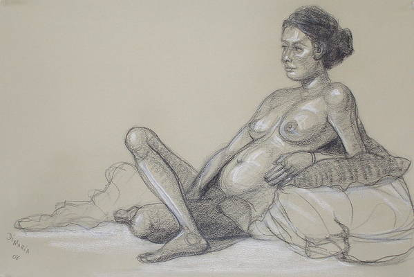 Realism Art Print featuring the drawing Reclining Nude 2 by Donelli DiMaria