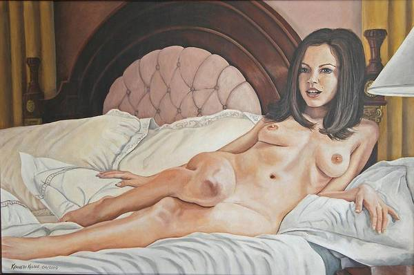 Nude Art Print featuring the painting Reclining Nude by Kenneth Kelsoe