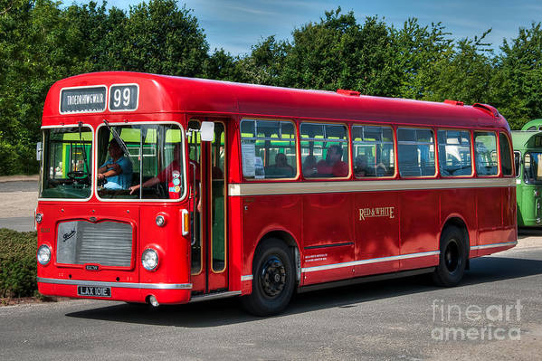 Vintage Bus Art Print featuring the photograph Red And White Rs 167 - Bristol Resl6l #1 by Steve H Clark Photography