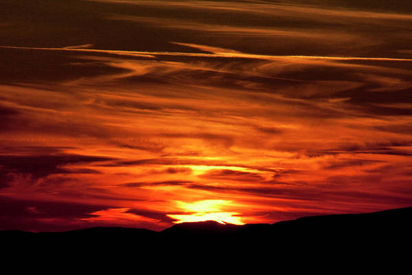 Sunset Art Print featuring the photograph Red Clouds At Sunset by Rodney Cammauf