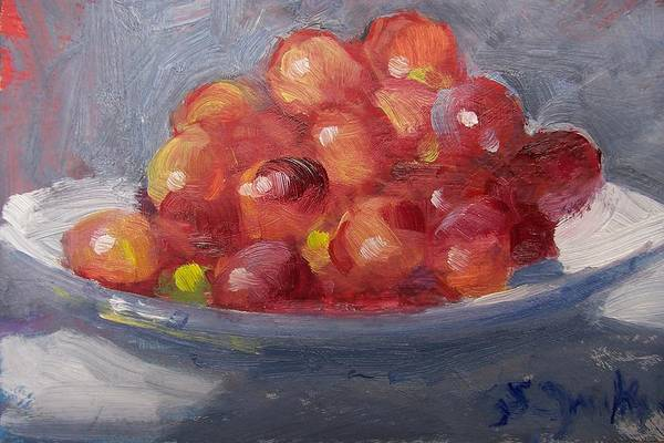 Grapes Art Print featuring the painting Red Grapes by Susan Jenkins