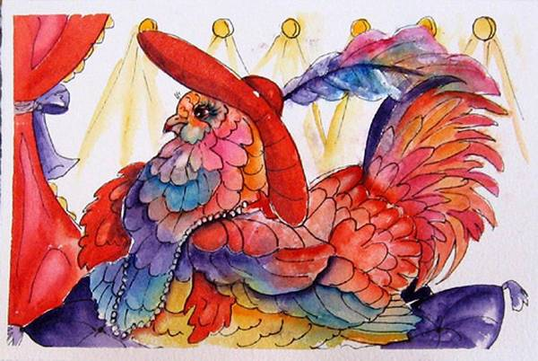 Chicken Art Print featuring the painting Red Hat Chick Fashion by Gina Hall
