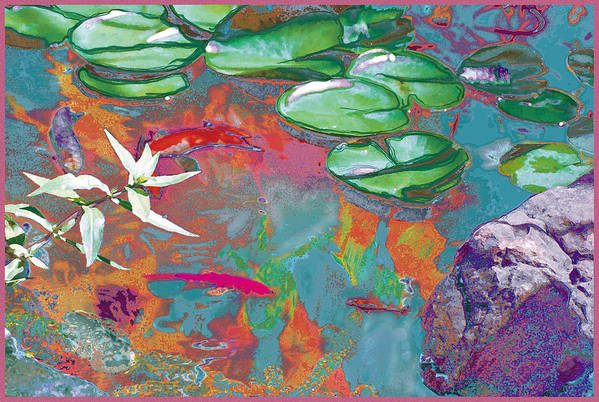 Koi Art Print featuring the photograph Red Koi In Green Disguise by Judy Loper