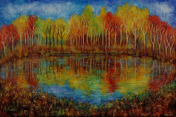 Landscape Art Print featuring the painting Red Lake. by Evgenia Davidov